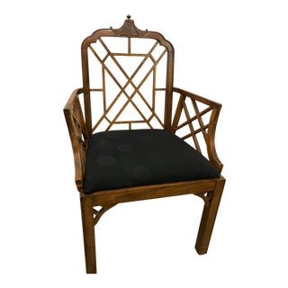 Vintage Mid Century Chippendale Style Oak Arm Chair For Sale