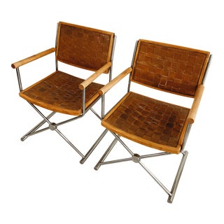 Woven Leather Chromecraft Director's Chairs - a Pair For Sale