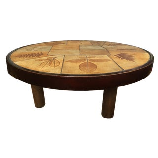 Signed 1960s Coffee Table by Raymonde Leduc With Leaf Motif