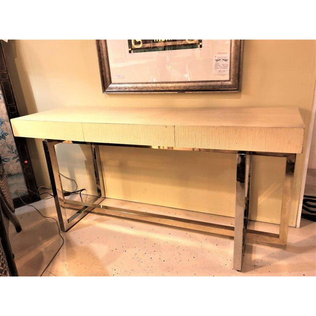 Hollywood Regency Modernist Chrome and Brass Based Console Table or Sideboard For Sale - Image 3 of 10