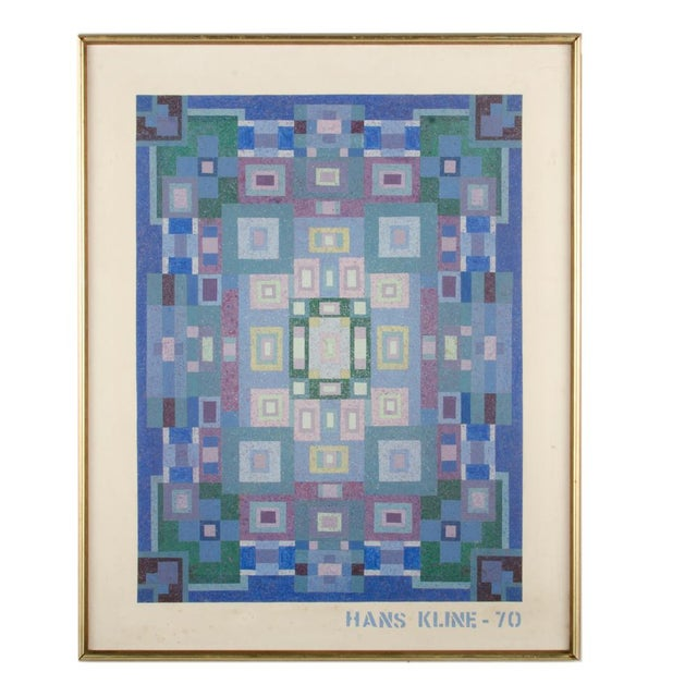 """Mid 20th Century """"Blue Kaleidescope"""" Abstract Oil Painting by Hans Kline, Framed For Sale - Image 10 of 10"""