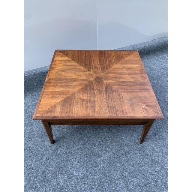 Mid 20th Century Mid-Century Modern Drexel Square Walnut Table For Sale - Image 9 of 9