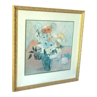 "Late 20th Century Vintage ""Japanese Vase With Roses and Anemone"" Print by Vincent Van Gogh For Sale"