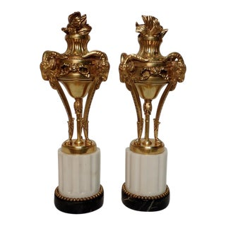 Louis XVI Style Dore Bronze Garnitures on Marble - a Pair For Sale