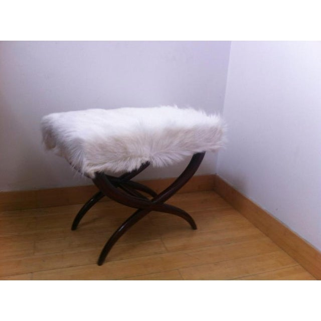 Mid-Century Modern Jean Royere Goat Hair X-Shaped Stool For Sale - Image 3 of 4