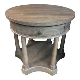 Belgian Oak Round Chairside Table For Sale