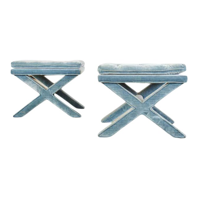 Pair of Billy Baldwin Style X Base Tufted Blue Velvet Benches For Sale