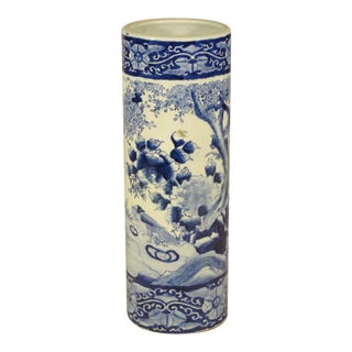 Early 20th Century Chinese Blue and White Umbrella Stand For Sale