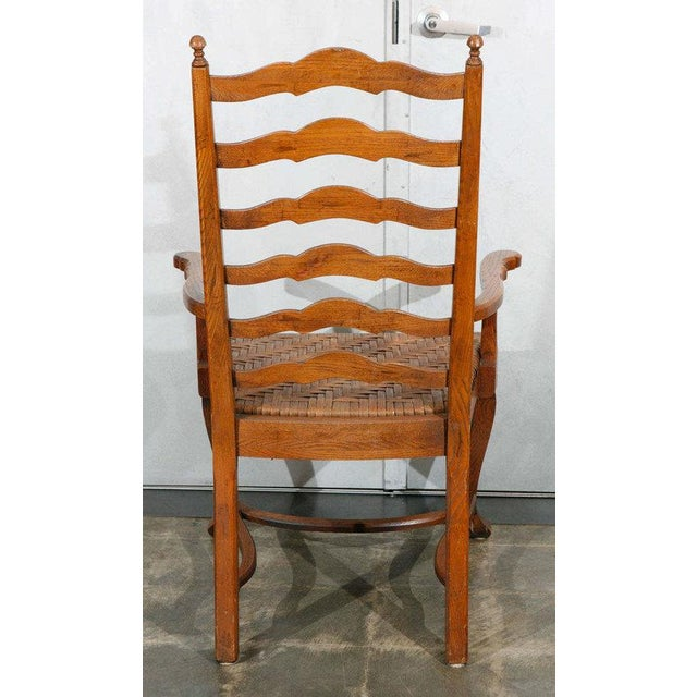 1930s Ladder Back Dining Chairs - Set of 6 For Sale - Image 5 of 9