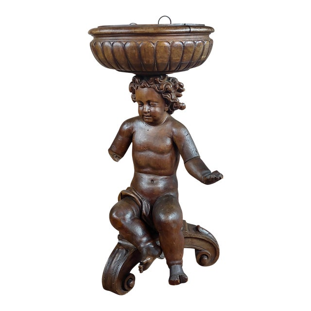 18th Century French Hand-Carved Walnut Cherub With a Plant Stand For Sale