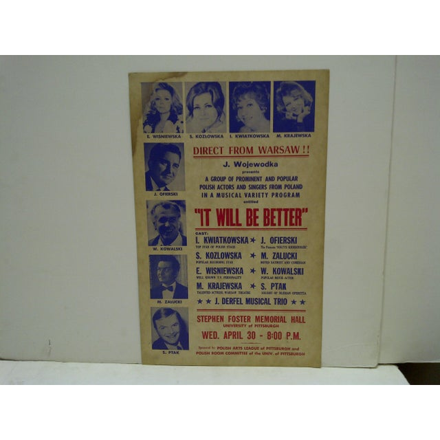 """This is a vintage direct from Warsaw Musical Variety program poster. """"It Will Be Better"""" Pittsburgh, Pennsylvania Circa 1960"""