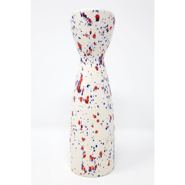 Ceramic Vintage Red Wing Pottery White, Blue and Red Speckle Vase For Sale - Image 7 of 9