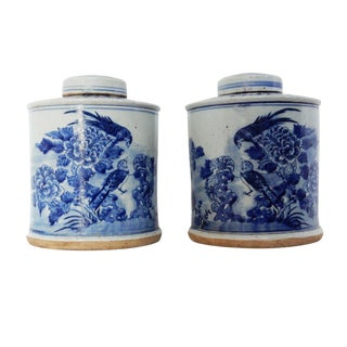 "Chinoiserie Hand Painted Blue & White Ginger Jars W/ Birds Pair 9"" H For Sale"