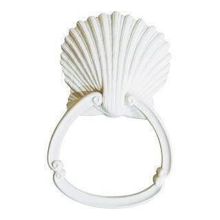 Vintage Sirocco White Large Sea Shell Coastal Nautical Wall Mounted Hand Towel Holder For Sale