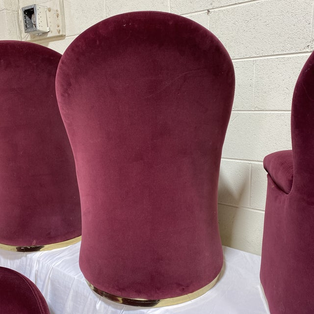 Contemporary Contemporary Velvet & Brass Dining Chairs - Set/6 For Sale - Image 3 of 12