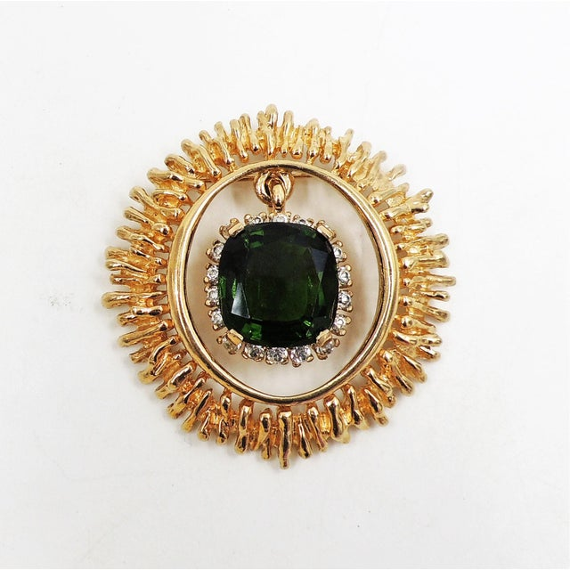 Green Panetta Faux-Emerald Drop Brooch For Sale - Image 8 of 8