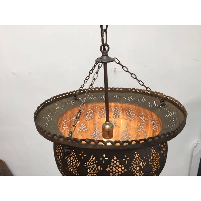 Antique 19th Century Hand-Crafted Moorish Pierced Brass Turkish Chandelier For Sale - Image 9 of 10