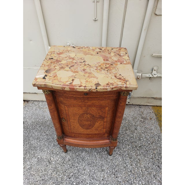 19th Century Empire Burl Walnut Marquetry Marble Top Antique Bedside Cabinet or Side Table For Sale - Image 11 of 13