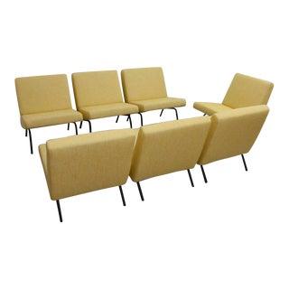 Set of Seven Joseph Andre Motte Slipper Chairs 743 for Steiner, France, 1950s