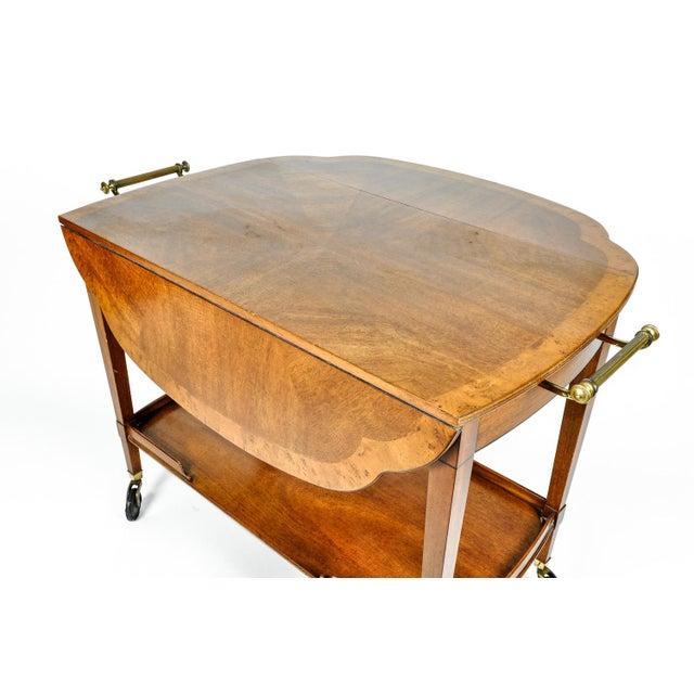 Mahogany Mid-20th Century Satinwood Mahogany Bar Cart or Tea Trolly For Sale - Image 7 of 13