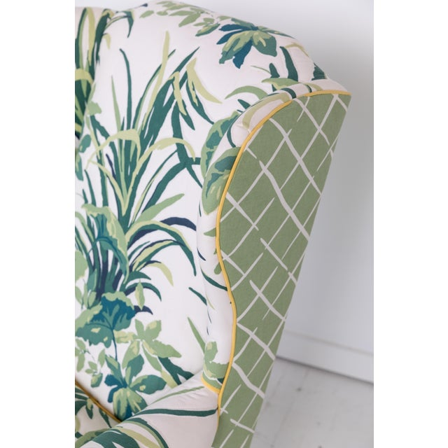 1960s 1960s Vintage Palm Leaf Pattern Fabric Wingback Chair For Sale - Image 5 of 13