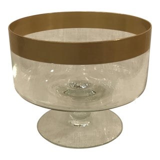Vintage Dorothy Thorpe Style Gold Rim Compote For Sale