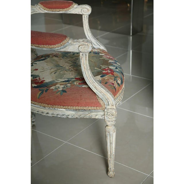 Red Fine Pair of Swedish Neoclassic Painted Armchairs For Sale - Image 8 of 9