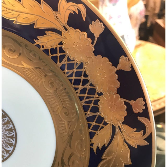 Edwardian 20th Century Edwardian Cobalt and Gilt Service Dinner Plates - Set of 12 For Sale - Image 3 of 10
