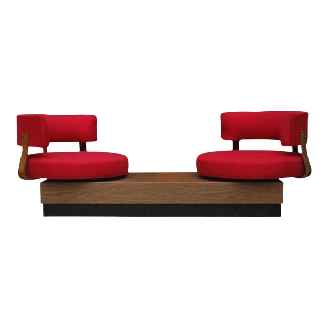 1970s Mid-Century Modern Red Swivel Lounge Chairs Sofa on Platform Base For Sale