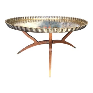 Mid-Century Large Brass Spider Legged Coffee Table For Sale