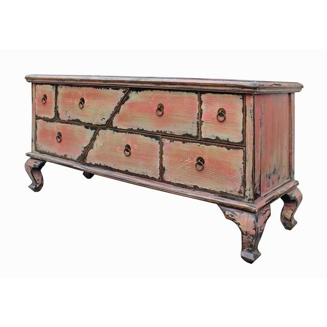 Chinese Pink Distressed Cabinet - Image 5 of 9