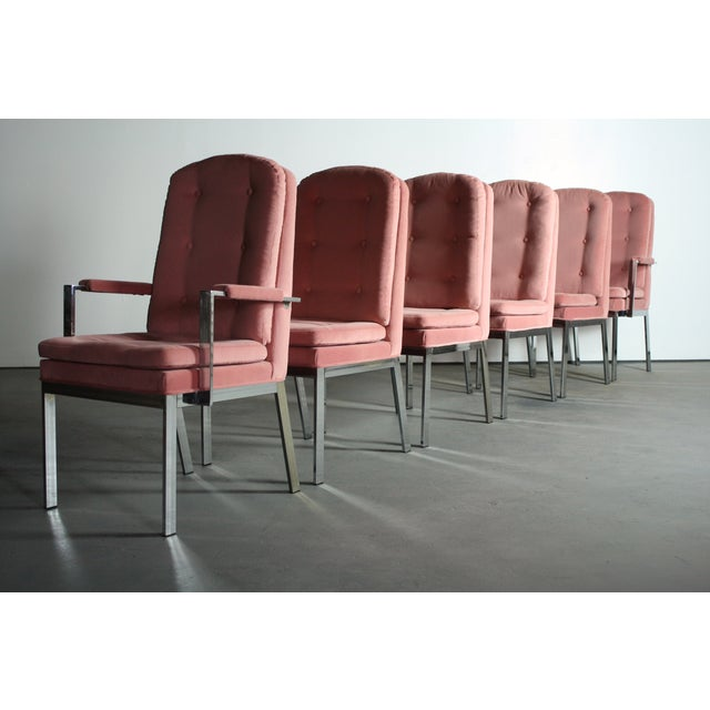 Milo Baughman for DIA Blush Dining Chairs - S/6 For Sale - Image 5 of 12