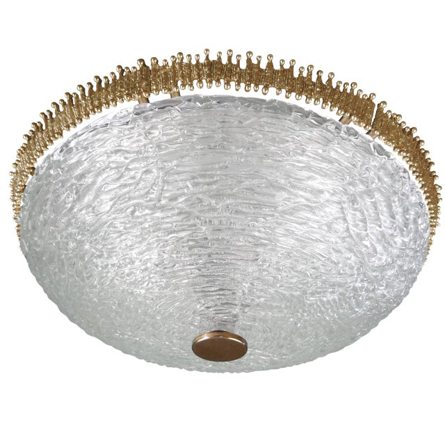 Textured Clear Glass and Brass Fixture by Hillebrand or Kaiser (2 Available) For Sale