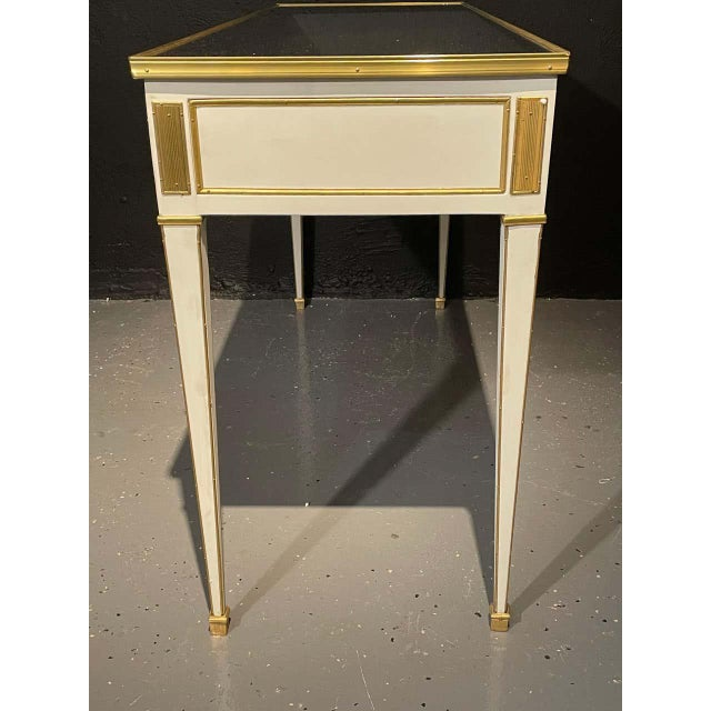 Cream Jansen Hollywood Regency Style Console / Sofa Tables, Mirrored & Painted - a Pair For Sale - Image 8 of 13