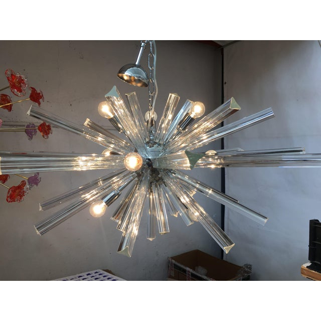 Silver Italian Murano Glass Sputnik Chandelier For Sale - Image 8 of 13