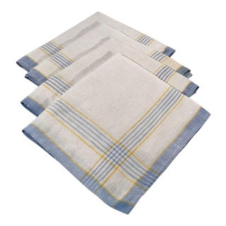 20th Century Country Linen Striped Napkins - Set of 4 For Sale
