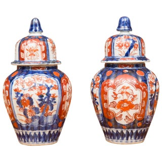 19th Century Diminutive Imari Lidded Urns - a Pair For Sale
