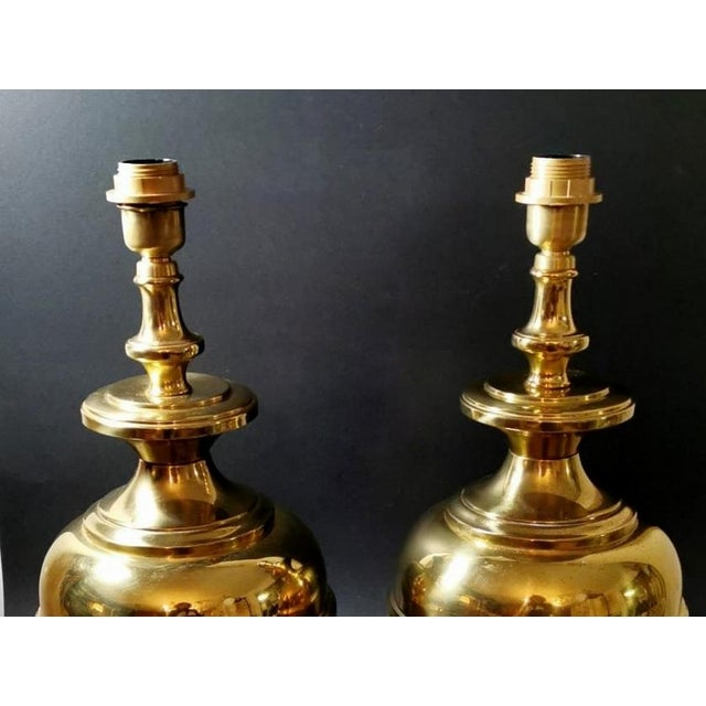 Mid-Century Modern Vintage Italian Table Lamps in Polished Brass - a Pair For Sale - Image 3 of 13