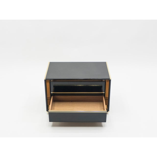 Hollywood Regency Italian Sandro Petti Black Lacquered Brass Mirrored Nightstands Tables, 1970s For Sale - Image 3 of 13