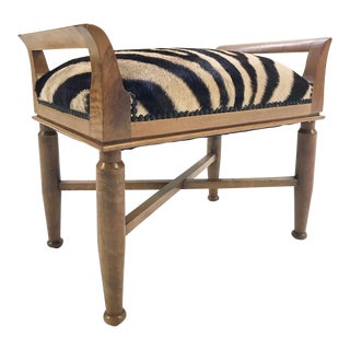 Small Vintage Bench Restored in Zebra Hide For Sale