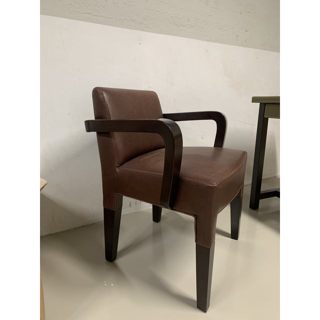 Wood Promemoria Brown Leather Chair For Sale - Image 7 of 8