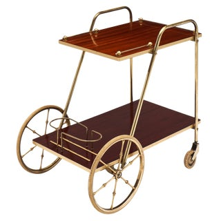 French Art Deco Period Rosewood and Brass Bar Cart For Sale