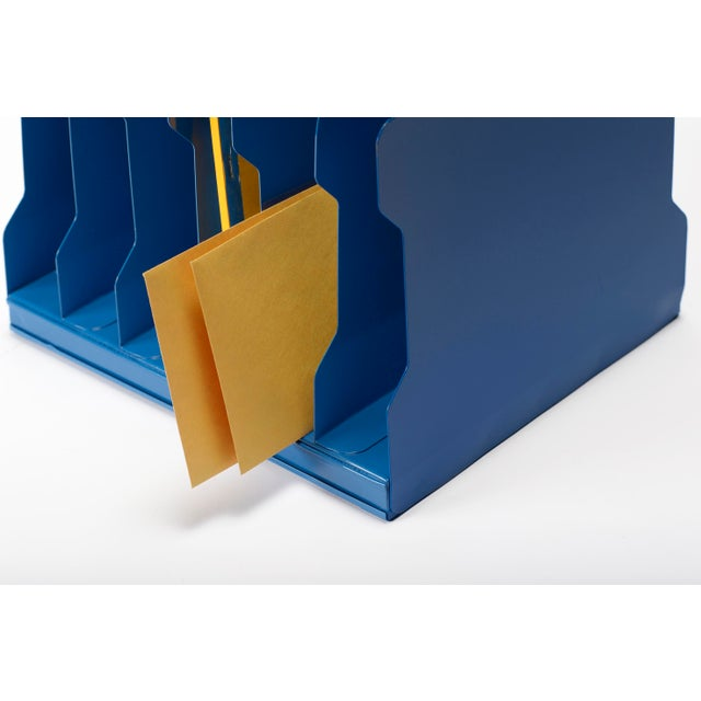 Mid-Century Modern 1940s Desktop Memo/ File Holder, Refinished in Moon Blue For Sale - Image 3 of 6