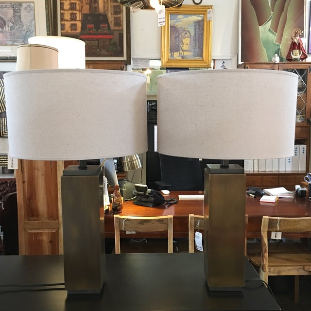 Design Plus Gallery has a stunning pair of Restoration Hardware table lamps. The Square column lamp bases are are finished...