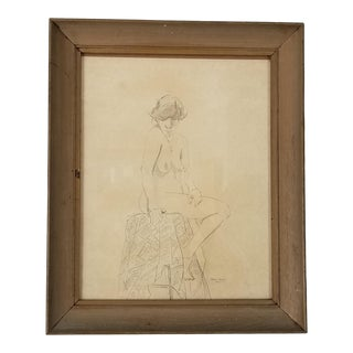 1980 Perez Munez Nude Female Drawing For Sale