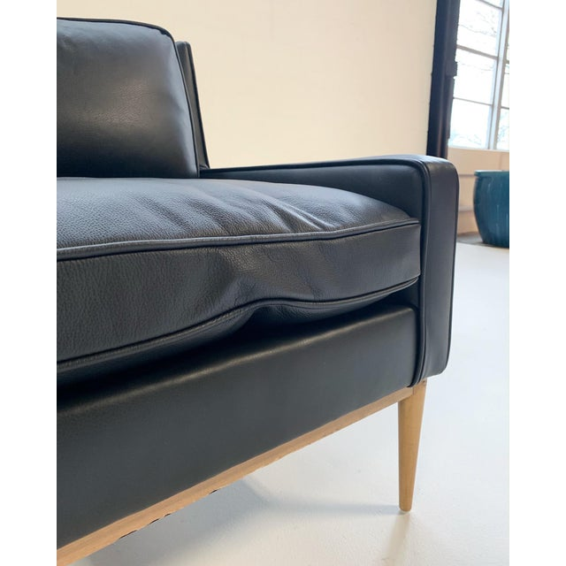 Wood Paul McCobb for Directional Model 302 Lounge Chair in Loro Piana Bufalo Leather For Sale - Image 7 of 9