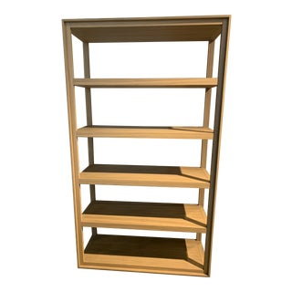 Cecchini Bookshelf in Hand Stained White Washedl Zebra Wood For Sale