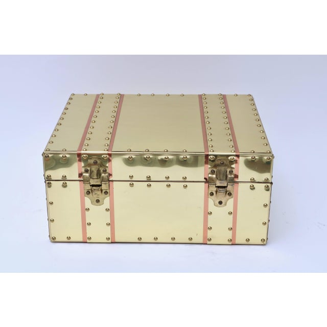 Late 20th Century Cream and Pink Brass and Copper Box For Sale - Image 5 of 7