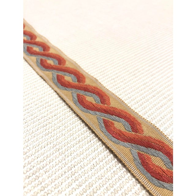 """Modern Classical Elements Modern Multi Twist Blue, Red, Orange, and Gold 1.75"""" Band Fabric Trim - 14 Yards For Sale - Image 3 of 4"""