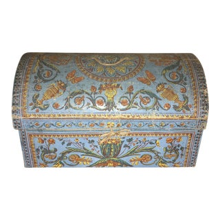18th Century Blue Hand-Printed French Wallpaper Box For Sale